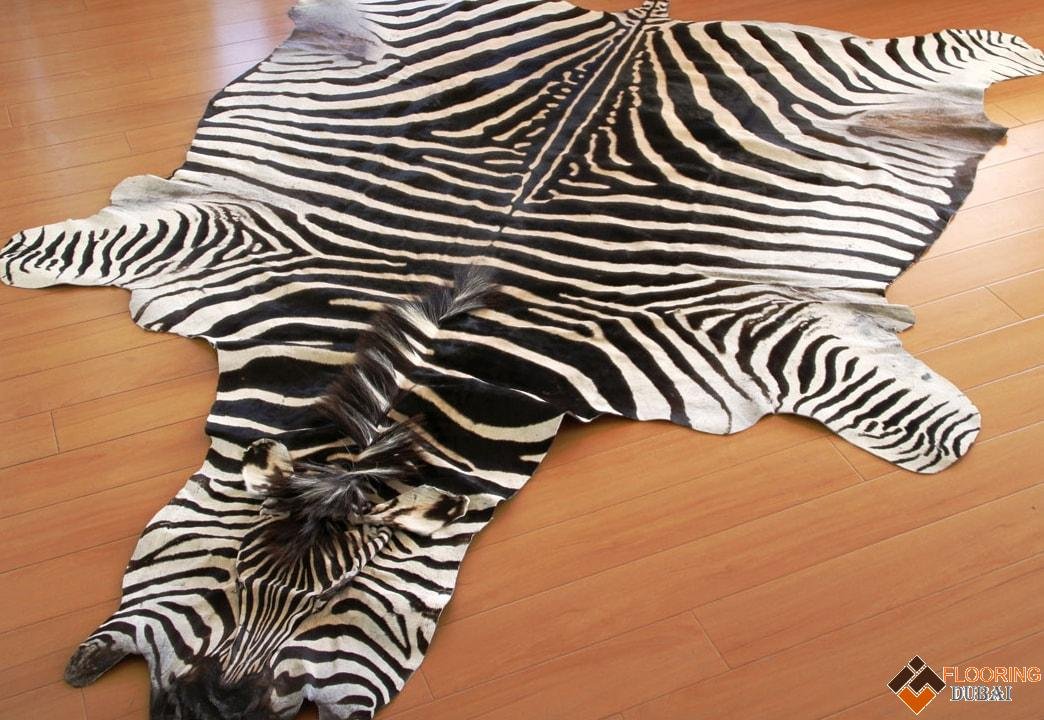 Zebra hide rugs in Dubai